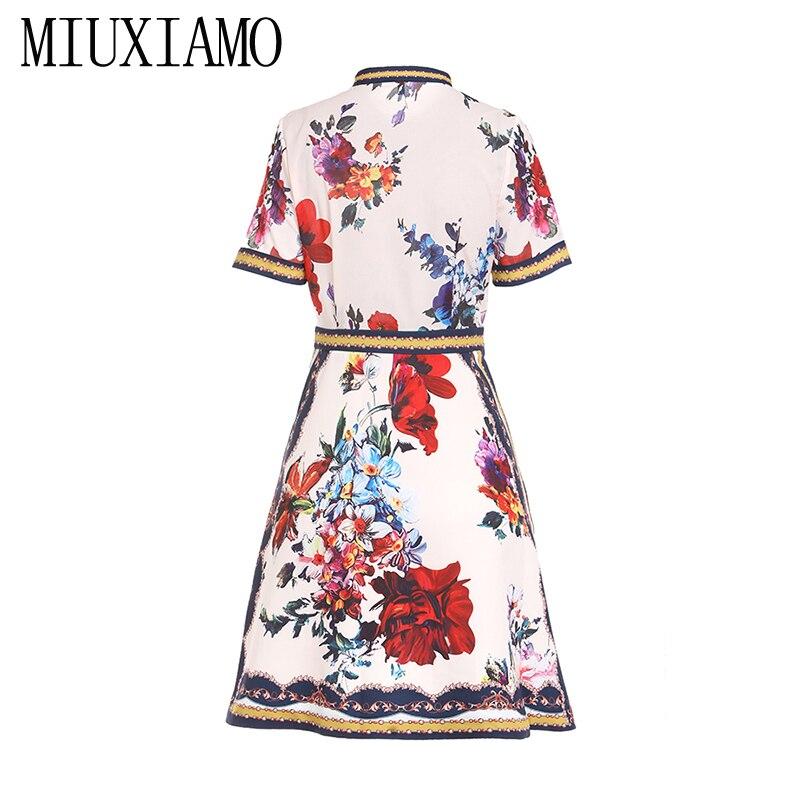 MIUXIMAO 19 High Quality New Fashion Runway Summer Dress Women's Retro Half Sleeve Stereo Flower Vintage Dress vestidos 2