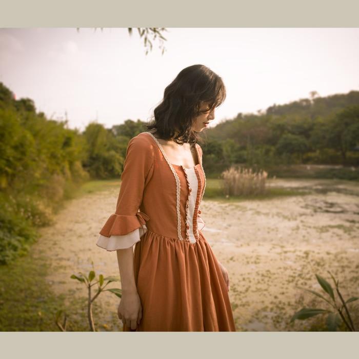 Original Design AIGYPTOS Spring Autumn Women French Rural Style Vintage Dresses Elegant Slim Cotton Corduroy Long Princess Dress 2