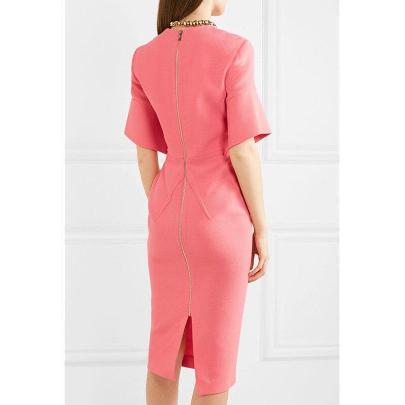 Elegant Work Women Pencil Dress Solid Pink Slim Half Sleeve Dresses Back Zipper Office Lady High Waist Long Mid Dress 2