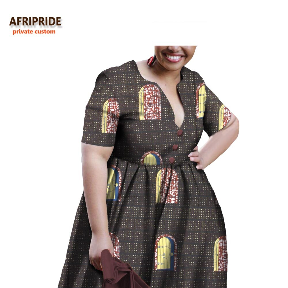 19 african A-line autumn dress for women AFRIPRIDE half sleeve V-neck knee-length casual women cotton dress with sashesA722598 2