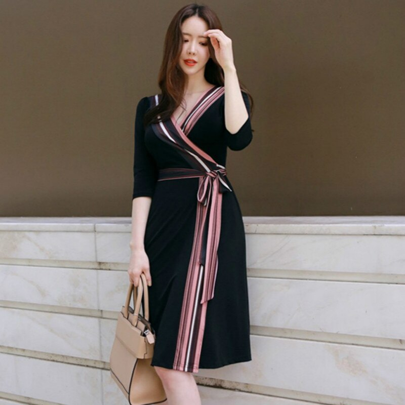 Plus Size A-line Dress Summer Women Black Striped Half Sleeve V-neck Knee-length Casual Office Lady Dress Vintage Korean Dresses 3