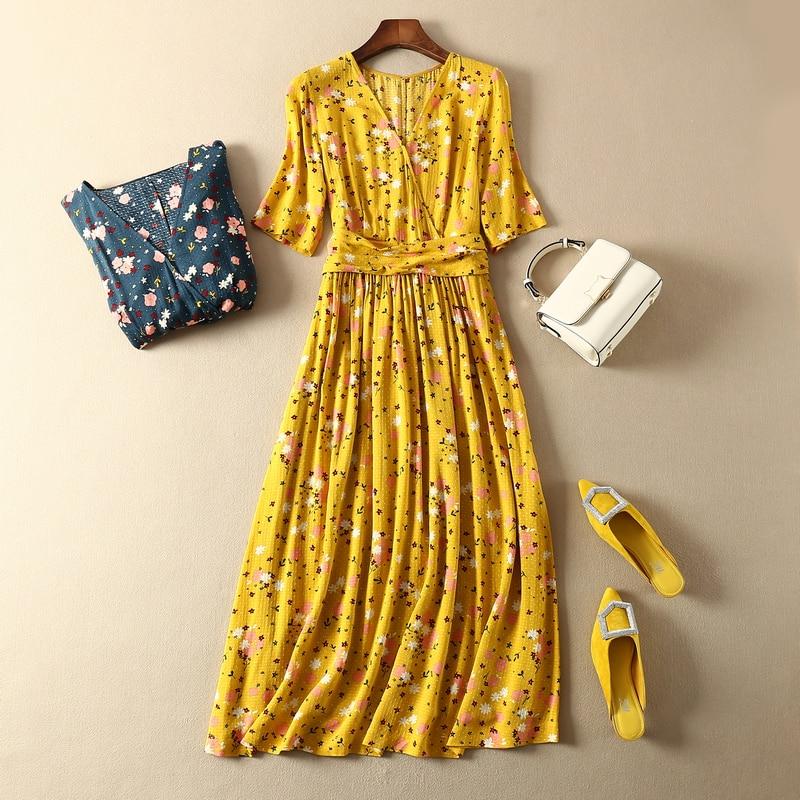 CAMIA French 100% viscose V collar waist knot half sleeve floral printing Elegant and high quality midi dress 1