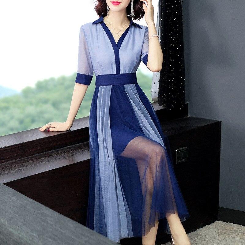 Women color block mesh dress patwork elegant half sleeve shirt dresses new 19 spring summer blue pink 2
