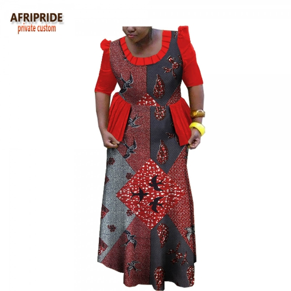 19 spring african traditional women dress AFRIPRIDE half sleeve ankle-length dress with ruffles decoration for women A1825025