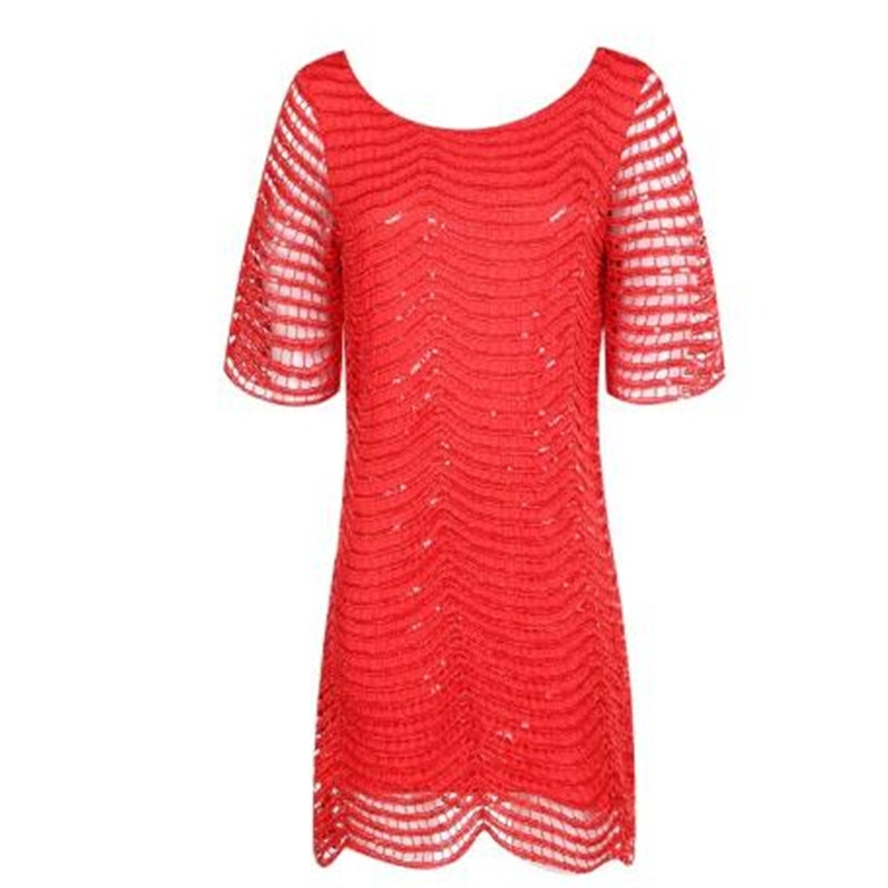 Haoduoyi The new Women's Fashion cute slim Loose Hollow out Wave Sequin Dress Five-Sleeve Straight Dress 3