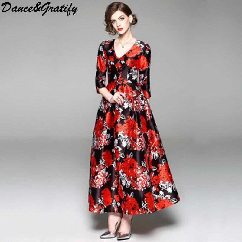 New Spring Floral Print Long Runway Dress Women Bohemian Half Sleeve Boho Maxi Party Dresses Tunic Vestidos Robe Plus Size 3xl