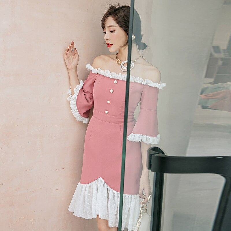 YIGELILA Autumn New Arrivals Patchwork Dress Slash Neck Half sleeves Fish Tail Dress Flare Sleeves Knee Length Dress 65216