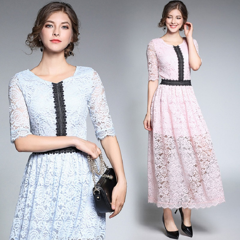 18Fashion Ladies elegant long lace dress female half sleeve summer pinched waist longos vestidos cultivating party dress tunic 1