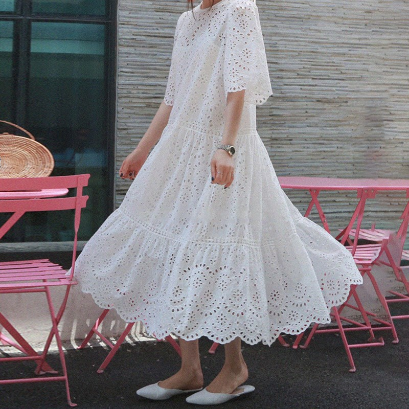19 Summer Women Casual Half Sleeve Loose Dress Solid Oversize Big Hem Hollow Out Maxi Dresses Elegant White Long Dress 1