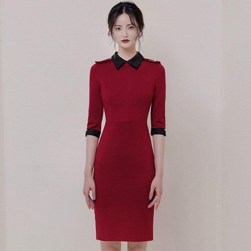 Autumn Turn-Down Collar Half Sleeve Red Vestidos Bodycon Pencil Brief OL Office Lady Dress 1
