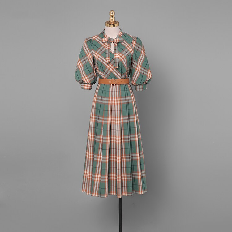 Elegant Plaid Dress Autumn Women Half Sleeve Office Lady Casual A Line Slim Dress Women With Belt Vintage Women Dress SL574 3