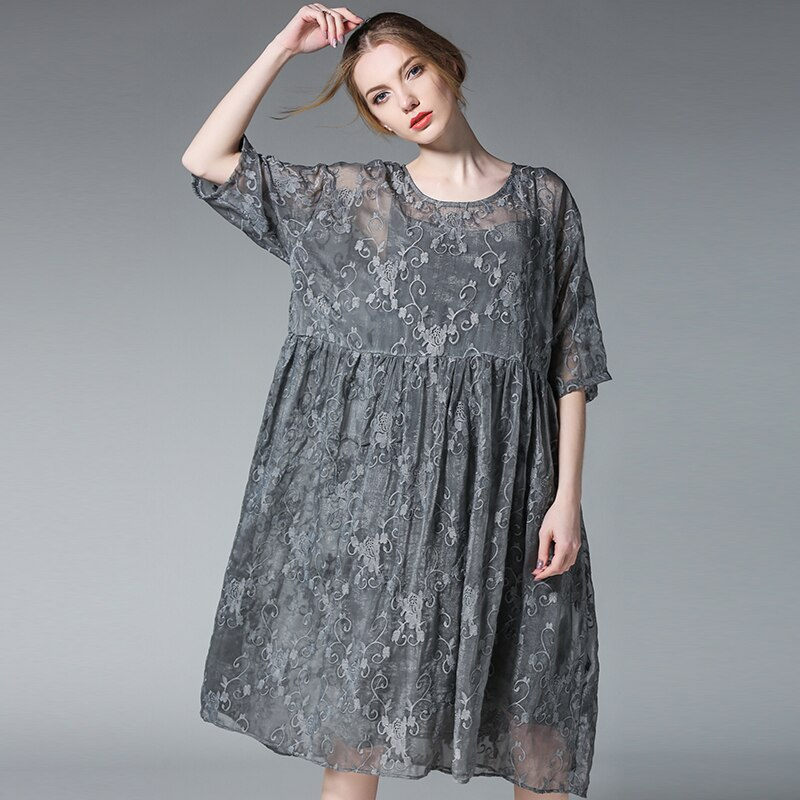 19 two pieces spring summer fashion dresses plus size half sleeve floral embroidery silk women oversized casual dress black 2