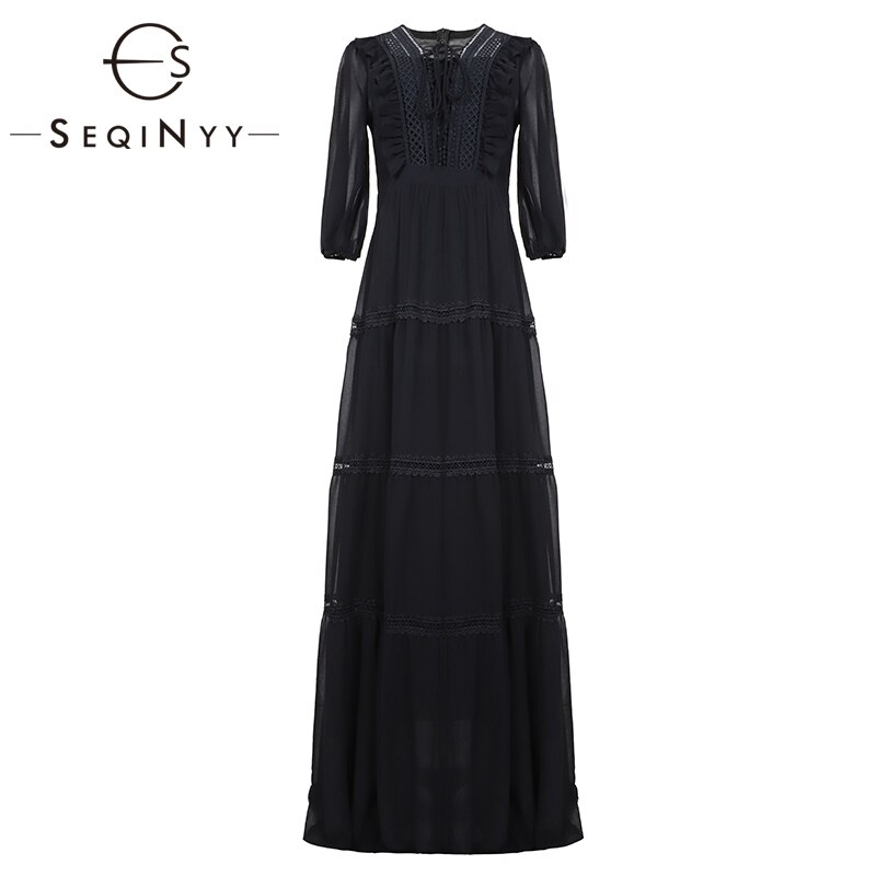 SEQINYY Chiffon Long Dress 19 Summer Spring New Fashion Design Half Sleeve Bow Lace Ruffles Elegant Maxi Dress Women