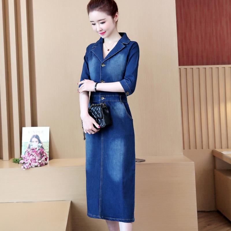 #2732 Spring Summer Half Sleeve Denim Dress Women Lapel Collar Slim High Waist Pencil Jeans Dresses Ladies Elegant Plus Size 5XL 3