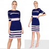 Top Quality Blue Strapless Half Sleeve Hollow Out Rayon Bandage Dress Party Elegant Dress