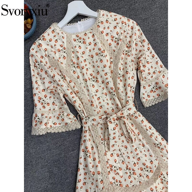 Svoryxiu Runway Designer Autumn Flower Print Mini Dress Women's Fashion Half Sleeve Lace Embroidery Elegant Party Dresses 3