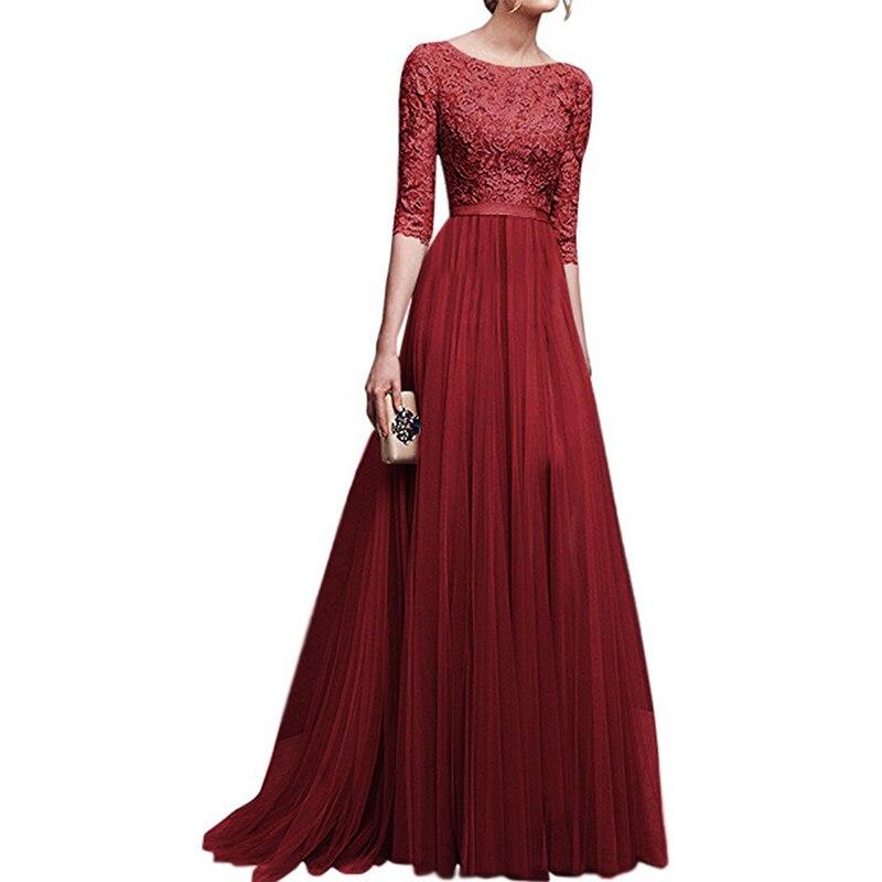 New Elegant Women Dresses Chiffon Female Floor-length Half Sleeve Maxi Dress Women Evening O-Neck Party Dresses 2