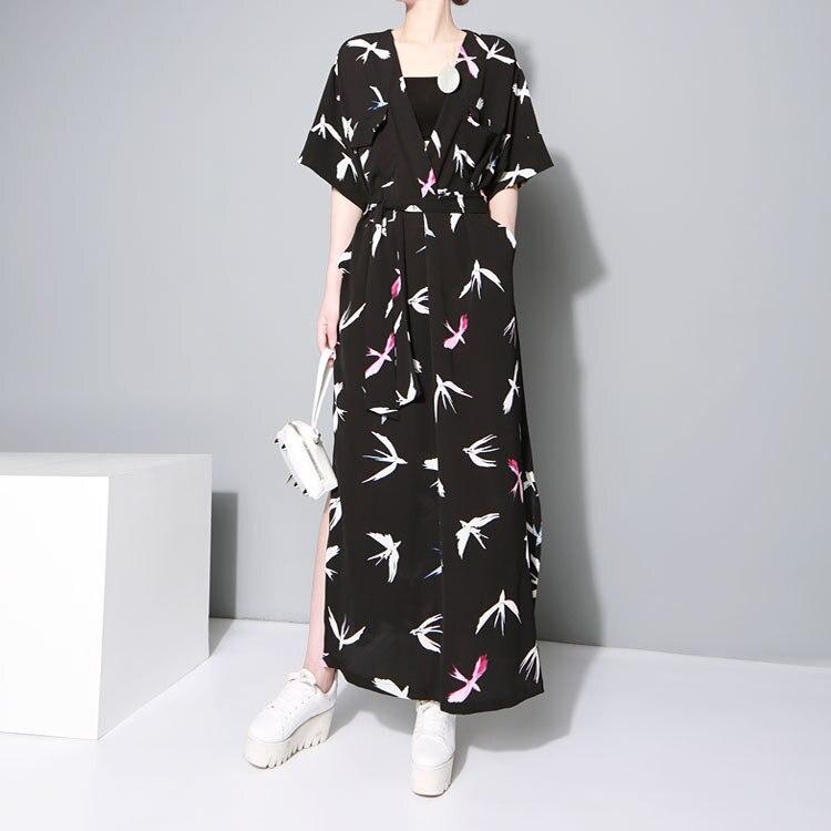 Tide Fashion Summer Pattern Printed Dress Sashes Casual Long Loose Size Shirt Dress Fashion Tide V-Neck Half Sleeve Dress 1