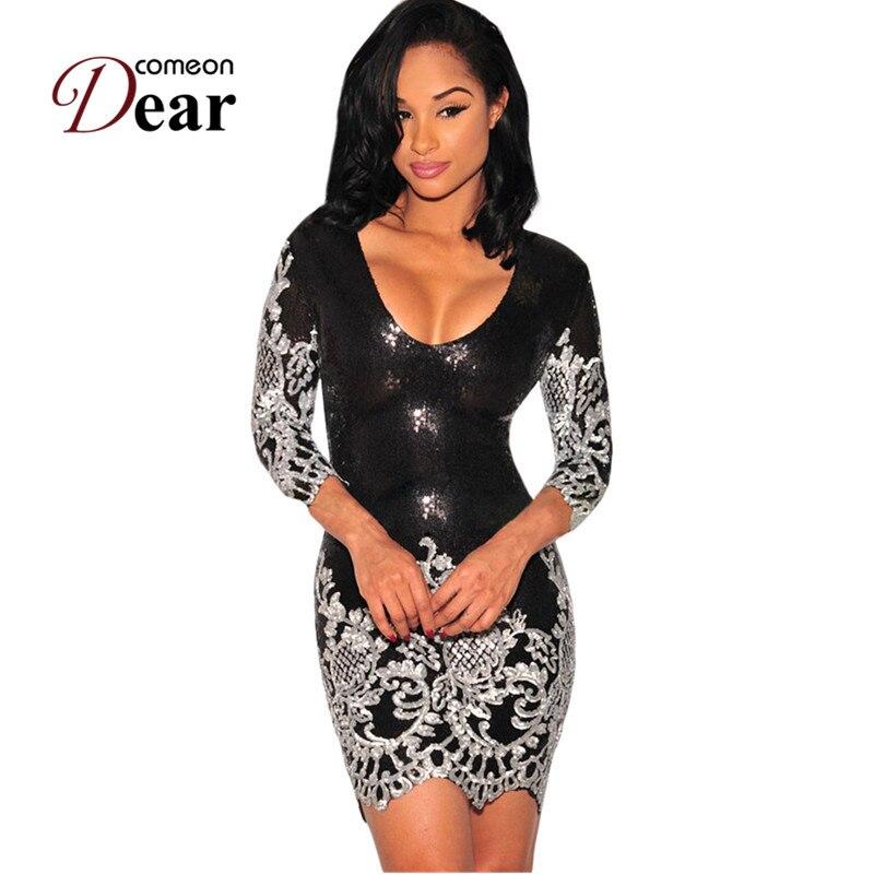 Comeondear Women Bodycon Dress V-neck Half Sleeve Fashion Sequin Dress Party Vestidos Verano Silver Gold Sexy Club Wear RB80349 3