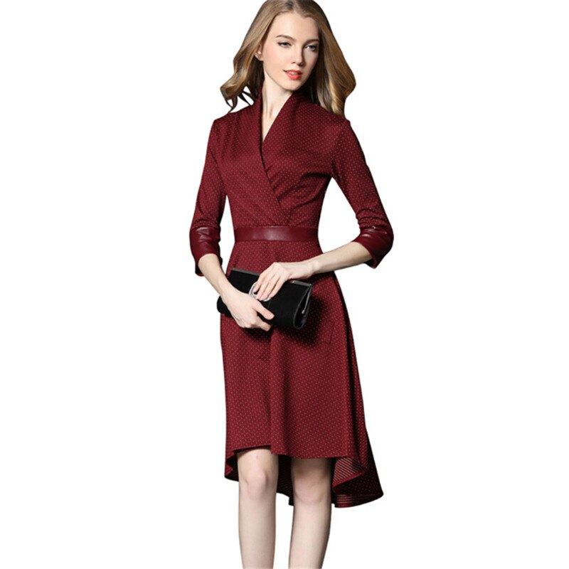 Vintage Irregular Dress Autumn PU Patchwork V Neck Half Sleeve Slim Party Dresses Vestidos Office Work Black Red Plus Size 2