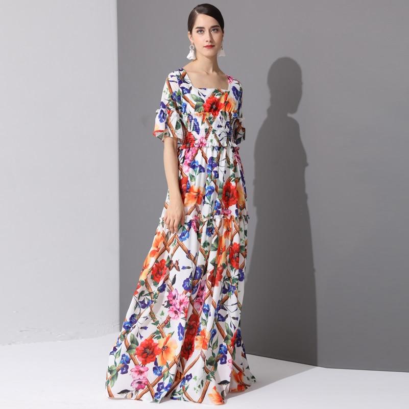 High Quality Fashion Designer runway Maxi Dresses Women's Half Sleeve Holiday amazing Floral Print Long Dress 3XL Plus Size 2