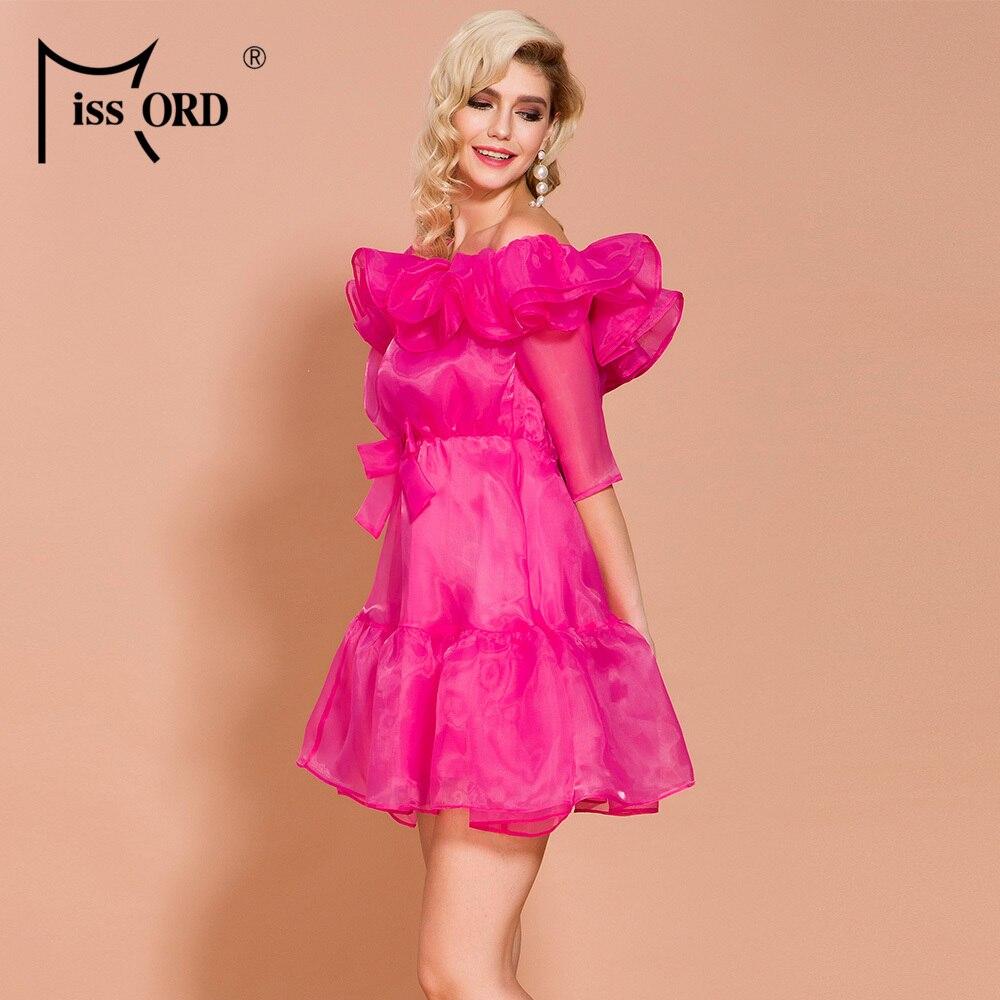 Missord 19 Autumn and Winter O Neck Half Sleeve Dresses Female Elegant Solid Color Mini Ruffles Dress FT19807 2