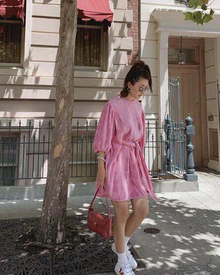 Women's Lantern Half Sleeve Dress O Neck Solid Color Party Pleated Mini Dress 3