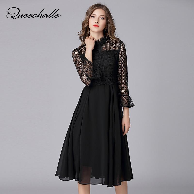 Queechalle L – 5XL Plus Size Chiffon Dress Women Hollow Out Flare Half Sleeve Floral Crochet Casual Lace Dress Femininas Vestido 1