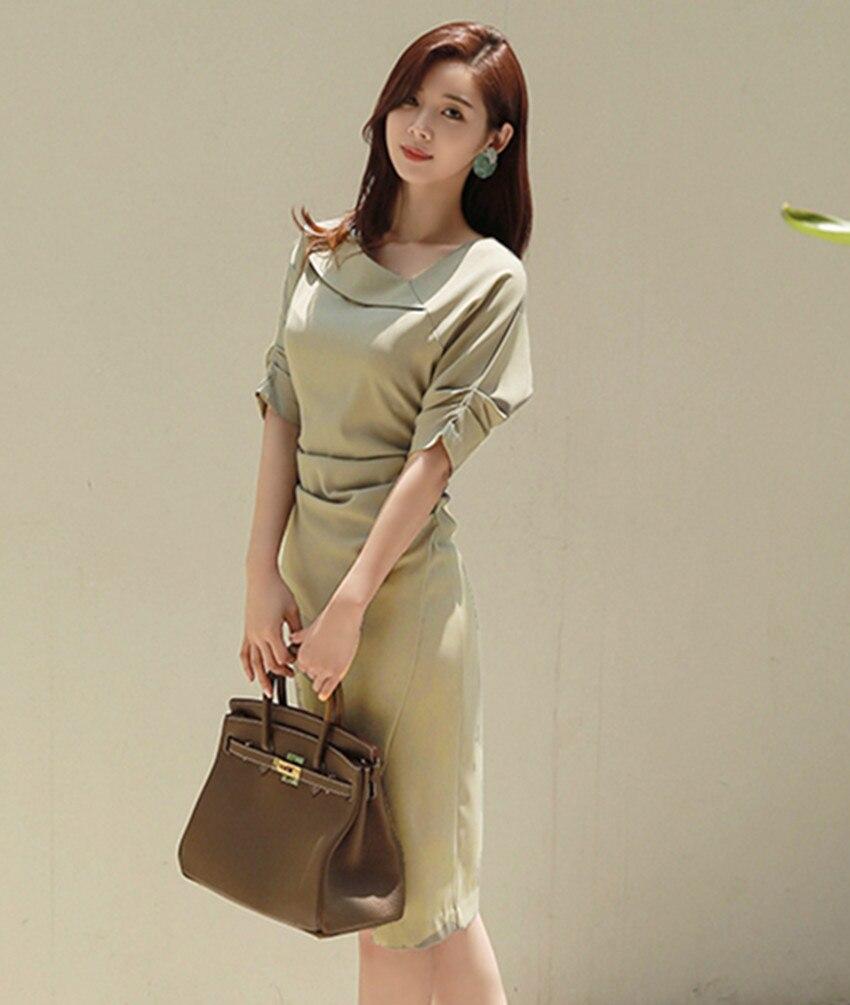 HAMALIEL High Quality Women Office Lady Pencil Dress Autumn Solid Sheath Half Sleeve Bodycon Slim Work Wear Formal Split Dress 3