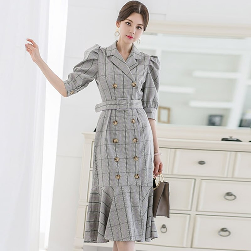 Summer Half Sleeve Vintage Knee-Length Cloth Double Breasted Sashes Notched Bodycon Plaid Fishtail Work Dress 1