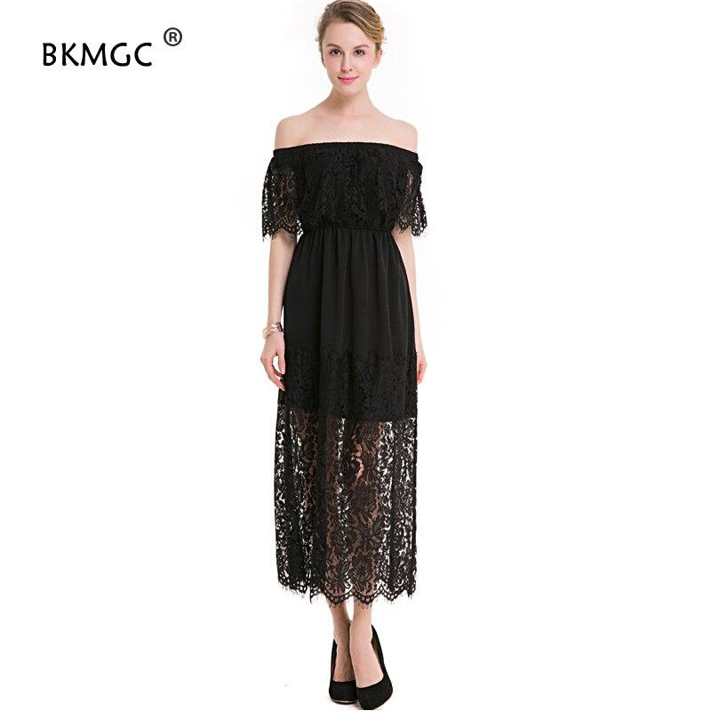17 New Women Dress Slash Neck Lace Half Sleeve Dress Tall Waist Slim Ladies Hollow Out Womens Evening Long Dresses Elegant 1