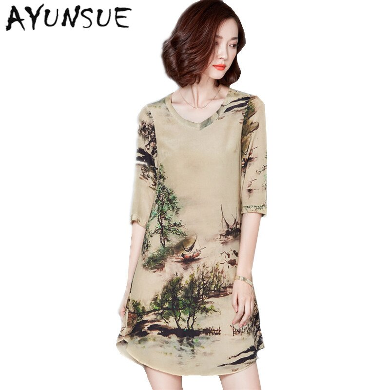 19 V-neck Vintage Silk Dress Half Sleeve Printing Floral Dress Women Summer Dresses Casual Plus size 4XL Vestidos Mujer FYY344 1