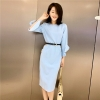 Spring Dress Women Designer Dresses Runway 19 High Quality Fashion Luxury Solid Sky Blue Half Sleeve Pencil Dress Robe Femme
