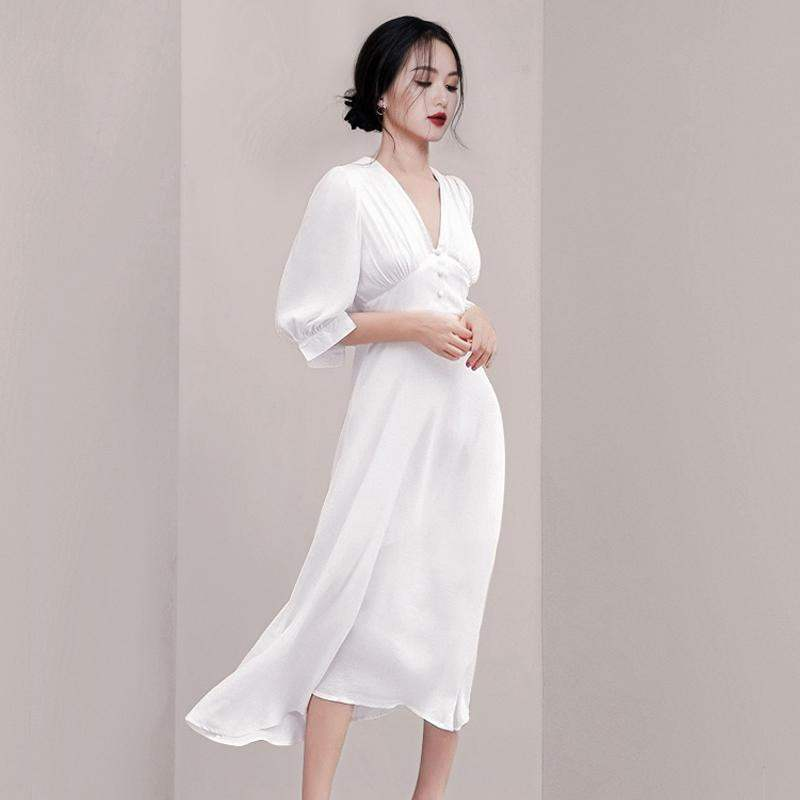 HAMALIEL Fashion Women White Vestidos Summer Chiffon Half Sleeve Office Lady Dress Vintage Sexy V Neck High Waist Slim Dress 3