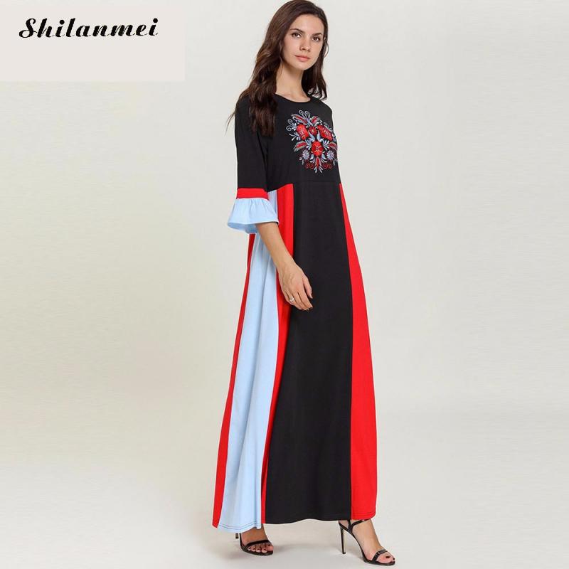 19 Autumn Women Casual Loose Cotton Long Dress Red Black Patchwork Elegant Floral Embroider Maxi Long Dresses Plus Size 4XL