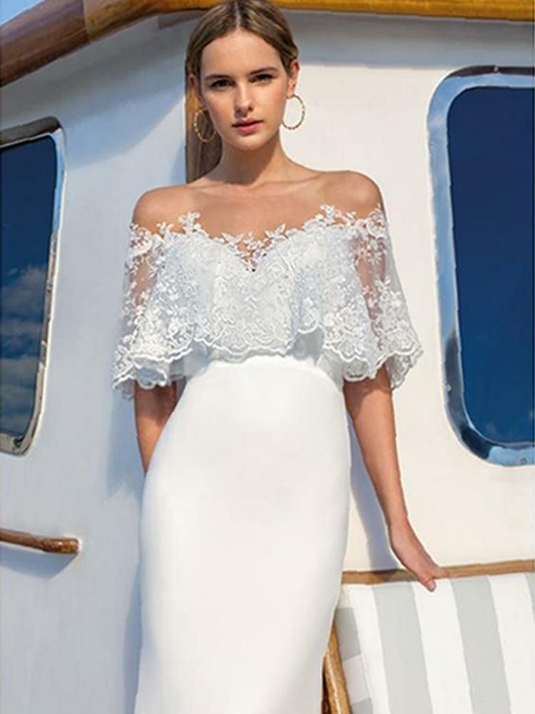 Summer Sexy Lace Shawl V-neck White Elegant Dinner Long Dress Women Maxi Dresses Women's Clothing White Party
