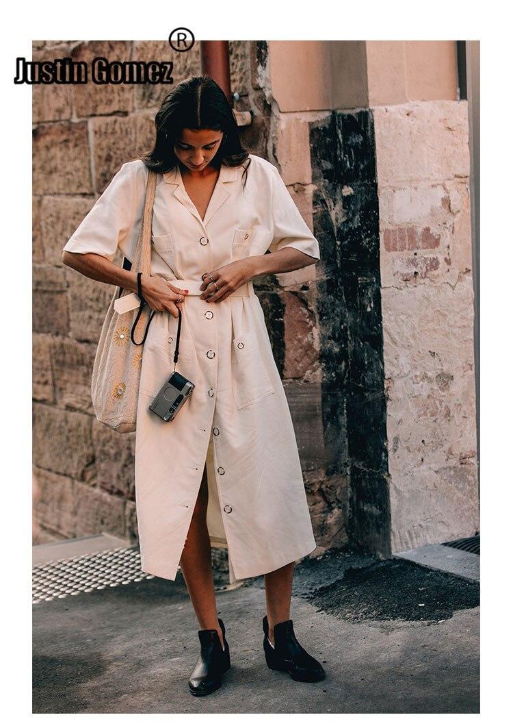 Summer Dresses 19 Women Temperament Waist Commuter Button Dress Half Sleeve Pockets Midi Dress Casual Woman Dresses With Belt 1