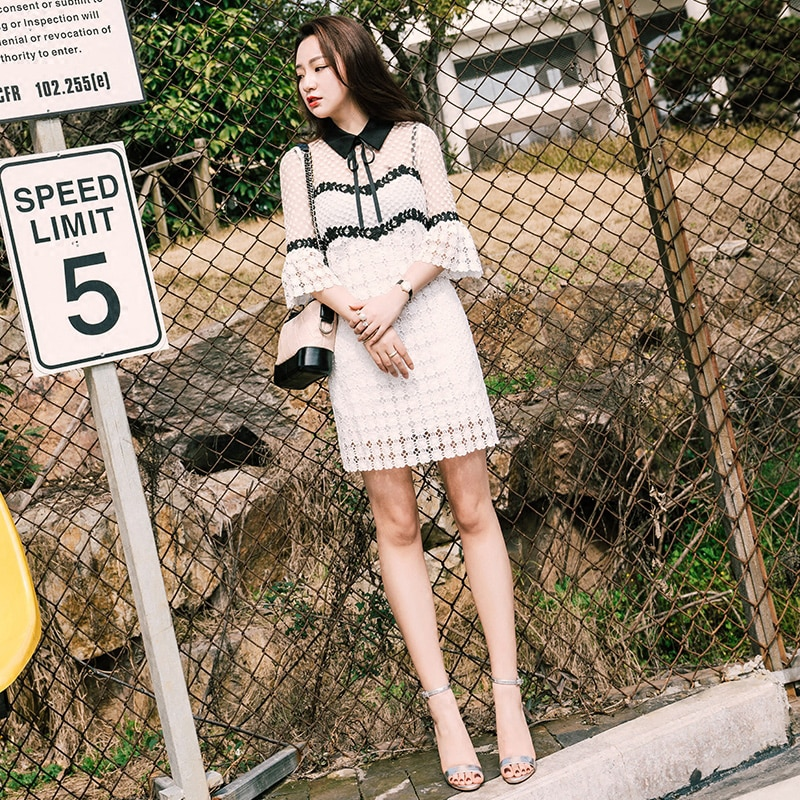 Summer 19 Self Portrait Dress Half Flare Sleeve Bow Turn-down Collar Runway White Lace Patchwork Hollow Out Sexy Party Dress 3