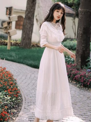 Foamlina Summer Women White Long Dress Sexy Dot Mesh Patchwork Half Sleeve Tassels Hollow Out Casual Female Beach Maxi Dress