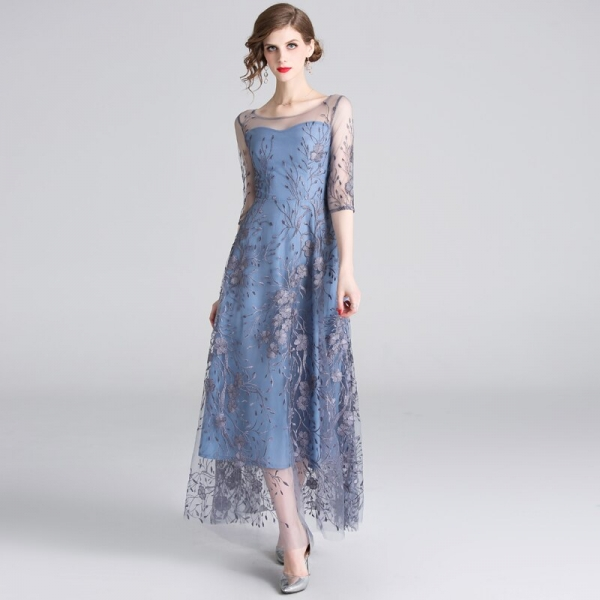HAMALIEL Runway Noble Half Sleeve Women Tull Long Dress 19 Spring Mesh Embroidery Floral Dress Elegant Patchwork Slim Vestidos