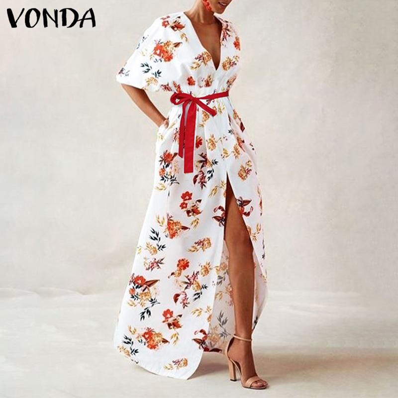 VONDA Women Vintage Printed Maxi Long Party Dress Sexy V Neck Short Sleeve Casual Loose Summer Beach Dresses Plus Size Vestidos 3