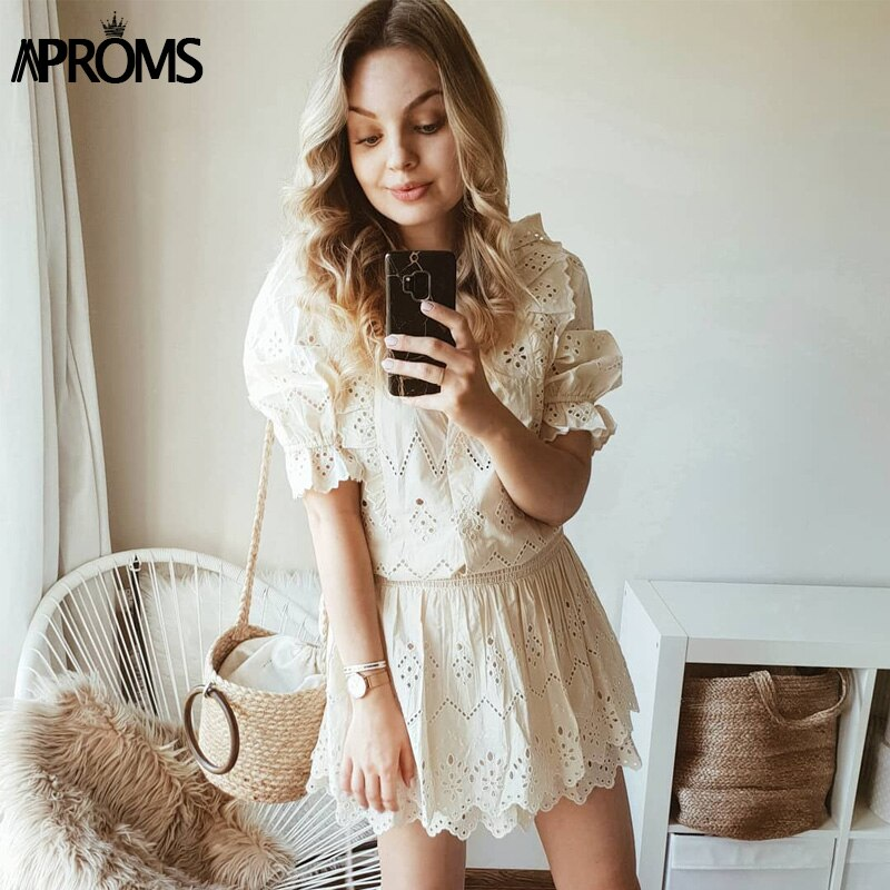 Aproms Elegant Solid Color High Waist Women Summer Dress Lace Hollow Out Mini Dress Sexy V-neck Half Sleeve Streetwear Dresses 3