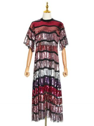 Patchwork Sequin Hit Color Dress For Female Stand Collar Flare Half Sleeve Midi Dresses Women Clothing Fashion