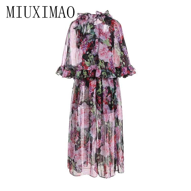 High Quality 19 Spring Newest maxi dress Bohemian A-Line Half Sleeve Slash Neck Printed Floral Ankle-Length Long Dress Women 2