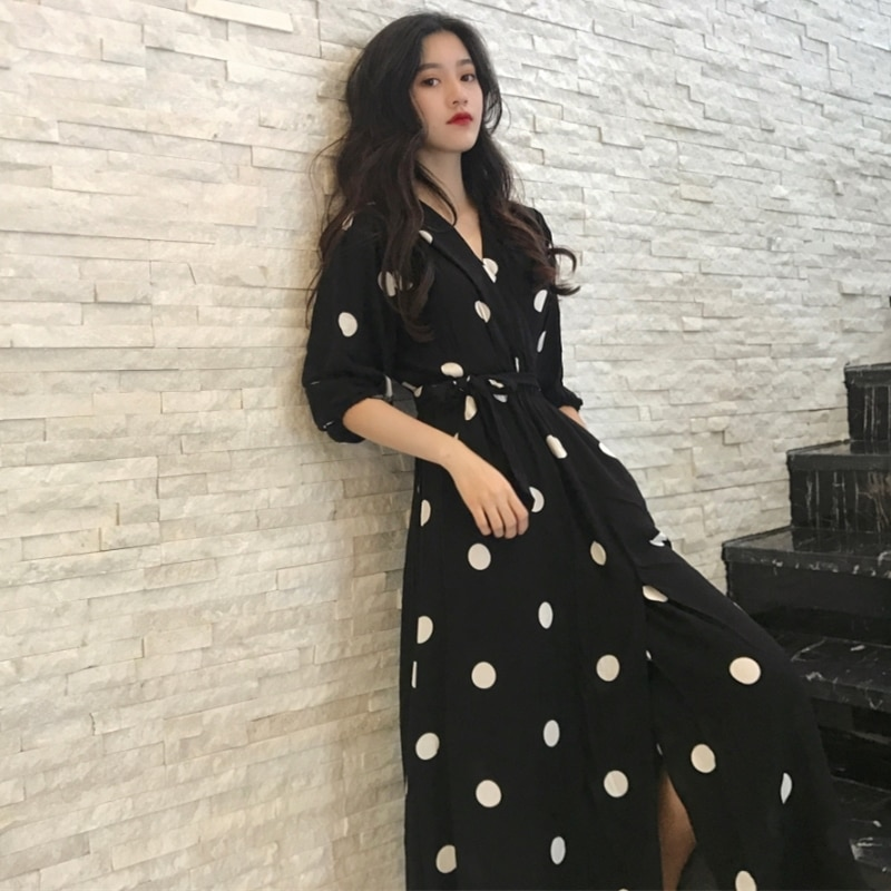Fashion V-neck Ladies Long Dress Casual Half Sleeve Dot Dress Female New Dresses SuperAen Summer Women's Dress Korean Style 1