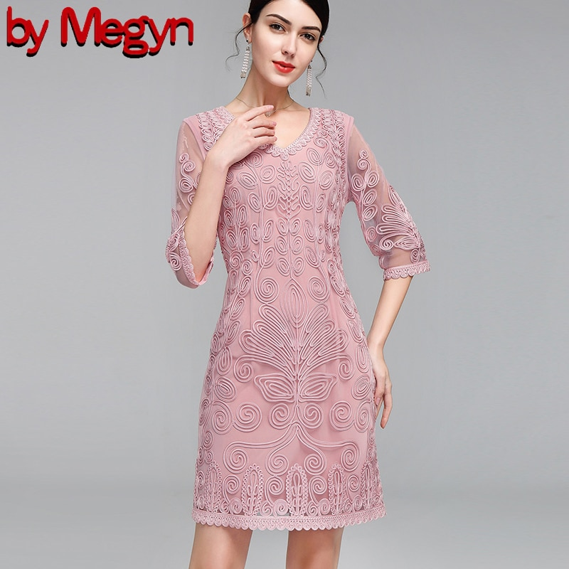 by Megyn 19 Vintage Women Fashion Blue Lace Runway Party Dresses Half Sleeve embroidery A-Line Knee-length Dress plus size 4XL 1