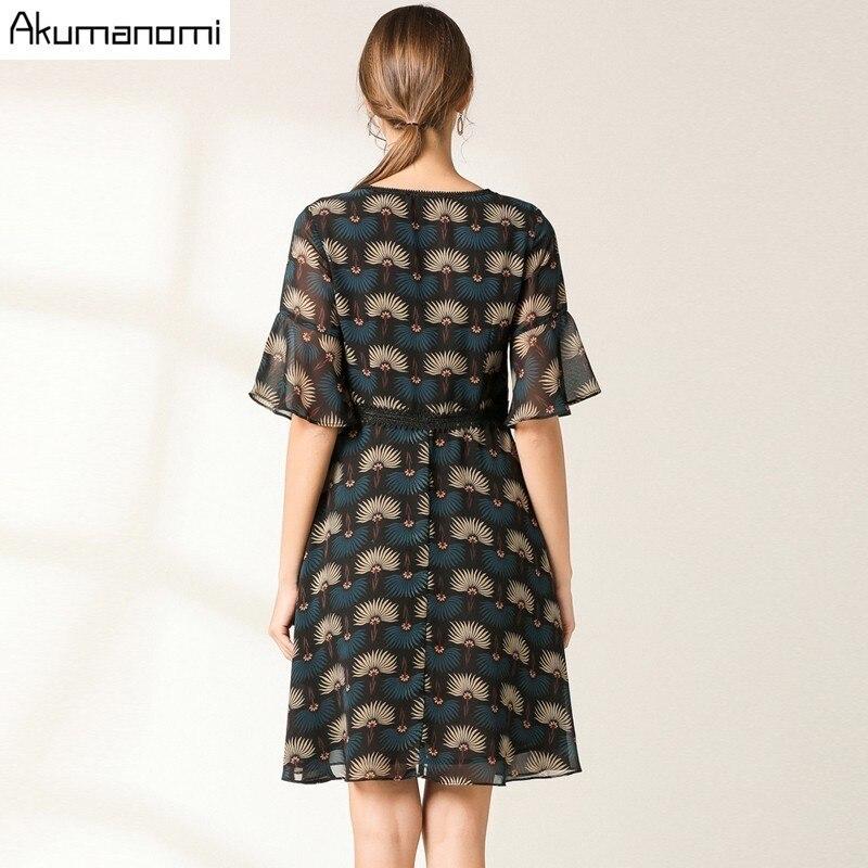 Flowrs Print Dress 19 New Fashion Women High Street A-Line Dresses Flare Half Sleeve Mini Autumn Dress Vestidos Plus Size 3