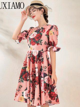 MIUXIMAO High Quality 19 Fall&spring Dress Luxurious Vintage Flare Sleeve Flower Print Elegant Casual Dress Women Vestidos