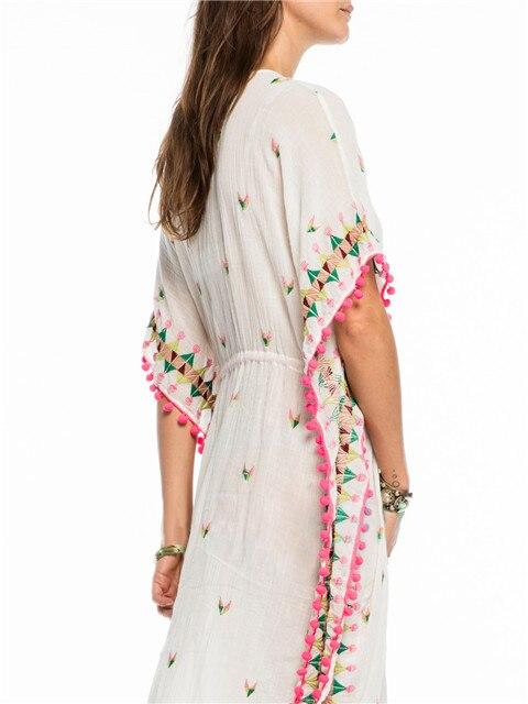 Embroidery Floral Half Sleeve Midi Fall Dress V Neck Sexy Bohemian Casual Spring Women Drawstring Tassel Tunic Dress 2