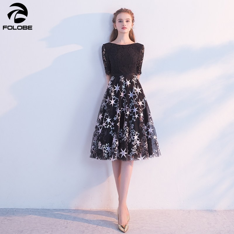 FOLOBE 19 new autumn fashion a line half sleeve black dress banquet party lace women dresses with embroidery stars 1